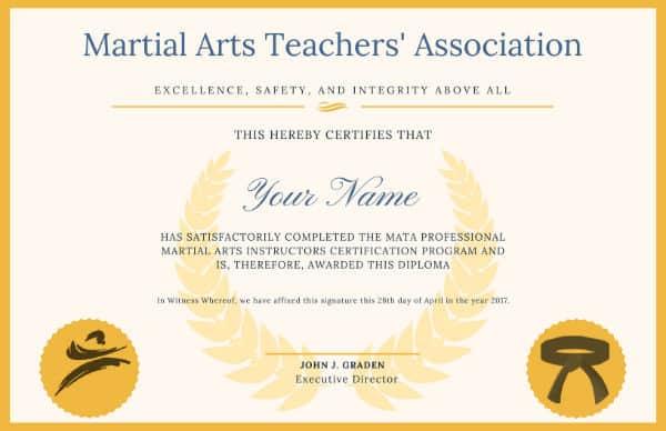 martial arts instructor certification