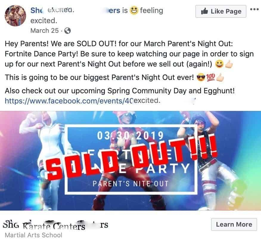 martial arts parents night out facebook ad