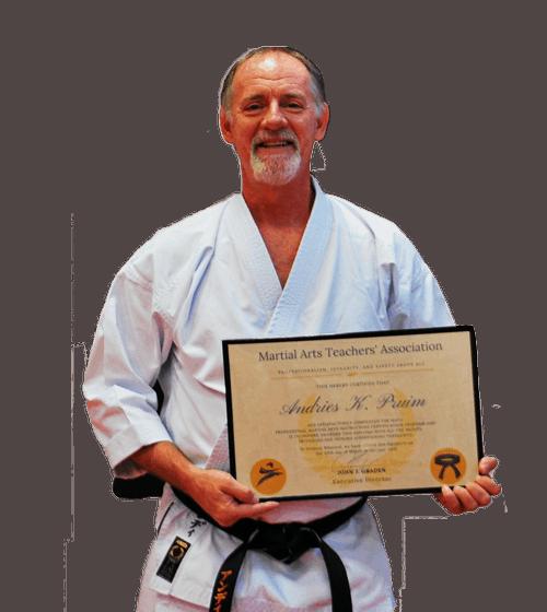 graduate with martial arts teachers association certificate